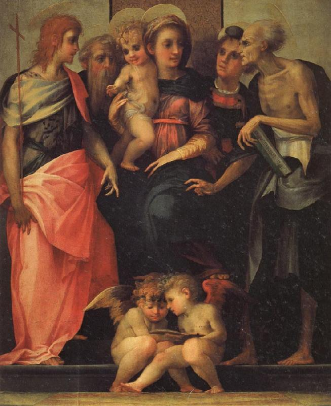 Rosso Fiorentino Madonna Enthroned with SS.John the Baptist,Anthony Abbot,Stephen,and Benedict oil painting image