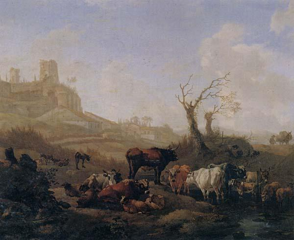 William Romeyn Cattle and sheep by a stream in a pasture,a town beyond oil painting image
