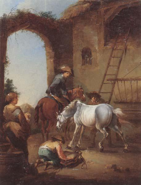 unknow artist Horsemen saddling their horses oil painting image