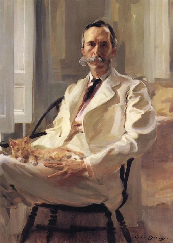 Cecilia Beaux Man with the Cat Portrait of Henry Sturgis Drinker oil painting image