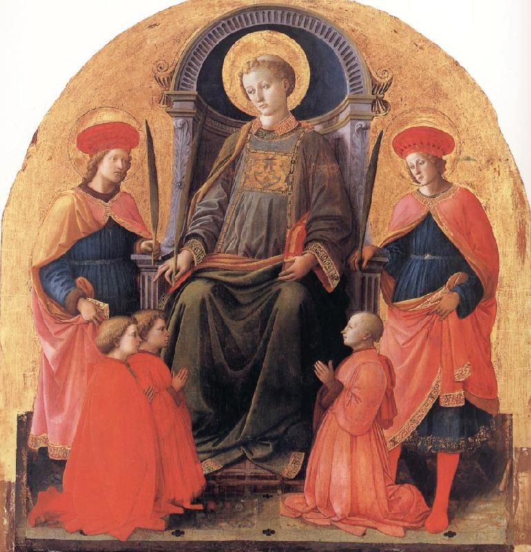 Fra Filippo Lippi St Lawrence Enthroned with Sts Cosmas and Damian,Other Saints and Donors oil painting image