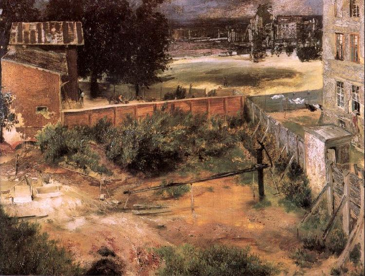 Adolph von Menzel Rear of House and Backyard oil painting image