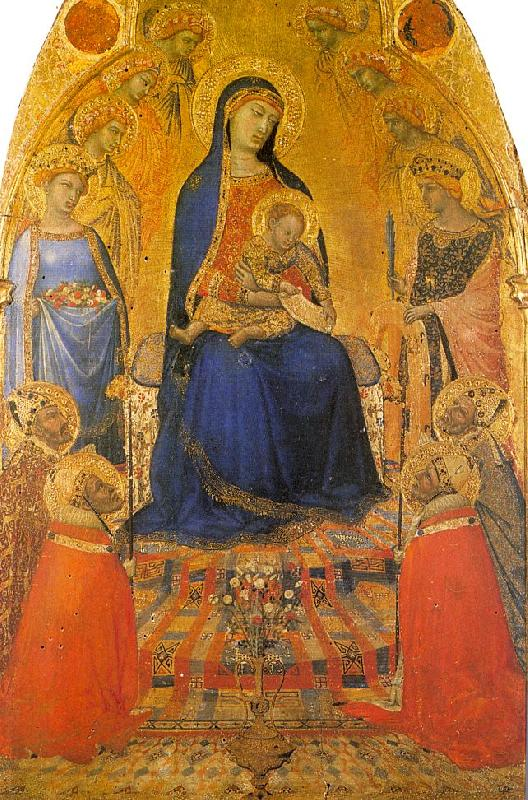 Ambrogio Lorenzetti Madonna and Child Enthroned with Angels and Saints oil painting picture