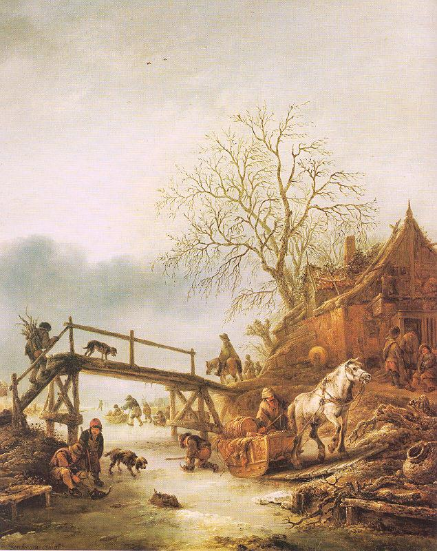 Ostade, Isaack Jansz. van A Winter Scene with an Inn oil painting image