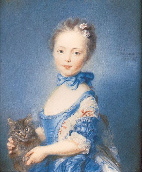 PERRONNEAU, Jean-Baptiste A Girl with a Kitten oil painting image