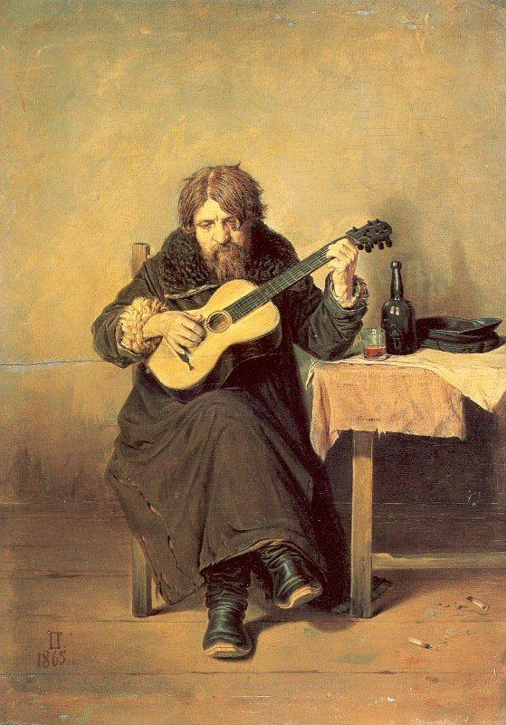 Perov, Vasily The Bachelor Guitarist oil painting image