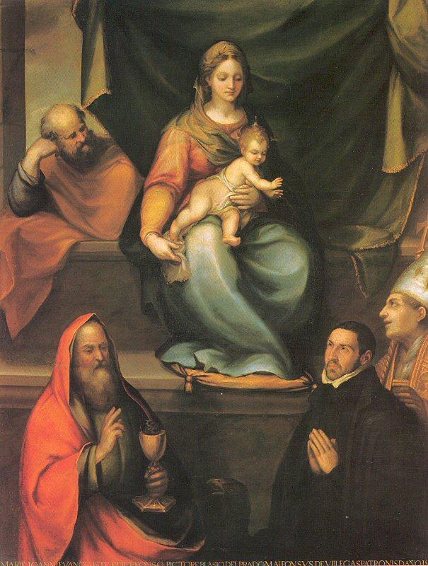 Prado, Blas del The Holy Family with Saints and the Master Alonso de Villegas oil painting image