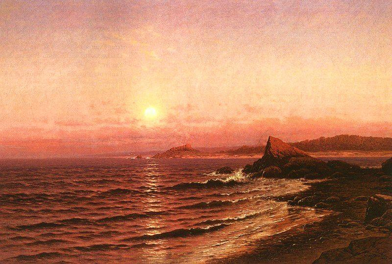Raymond D Yelland Moonrise over Seacost at Pacific Grove oil painting image