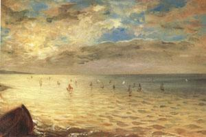 Eugene Delacroix The Sea at Dieppe (mk05) oil painting image