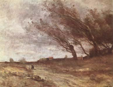 Jean Baptiste Camille  Corot Le Coup de Vent (The Gust of Wind) (mk09) oil painting image