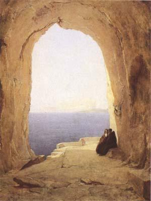 Karl Blechen Monks at the Gulf of Naples (mk09) oil painting image