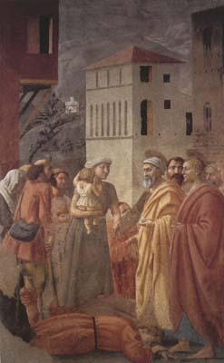MASACCIO St Peter distributes the Goods of the Community and The Death of Ananias (mk08) oil painting image
