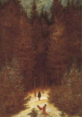 Caspar David Friedrich Chasseur in the Forest (mk10 oil painting image
