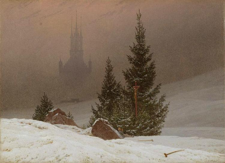 Caspar David Friedrich Winter Landscape with Church (mk10) oil painting image