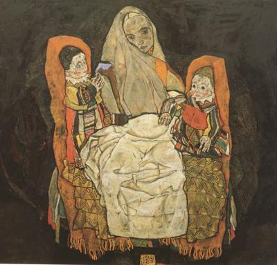 Egon Schiele Mother with Two Chilren III (mk12) oil painting image