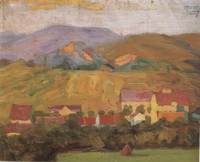 Egon Schiele Village with Mountain (mk12) oil painting image