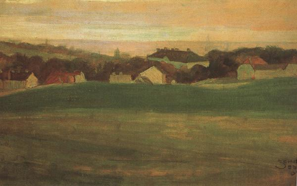 Egon Schiele Meadow with Village in Background II (mk12) oil painting image