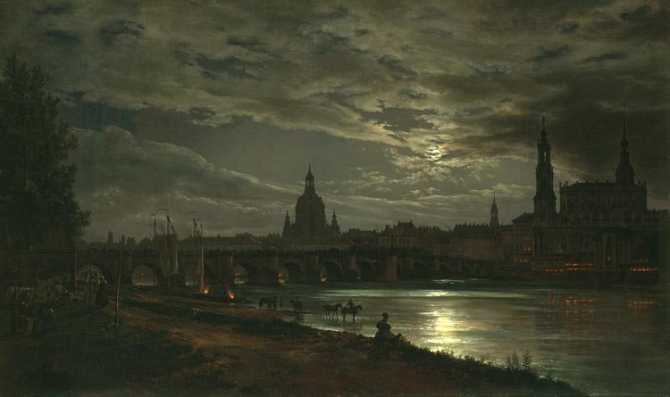 Johan Christian Dahl View of Dresden in the Moonlight (mk10) oil painting image