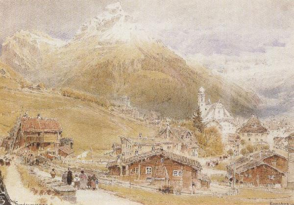 Albert goodwin,r.w.s A Sunday Morning in Engelberg,Switzerland (mk37) oil painting image