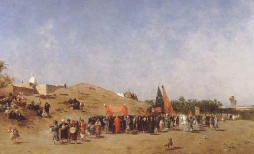 Carl Haag A Bridal Procession in Damascus (mk32) oil painting image