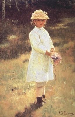 Ilya Repin Girl with a Bouquet (Vera,the Artist's Daughter) (nn02) oil painting image