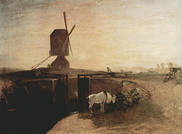 Joseph Mallord William Turner Grand Junction Canal at Southall Mill Windmill and Lock (mk31) oil painting image