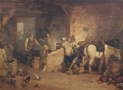 Joseph Mallord William Turner A country blacksmith disputing upon the price of iron,and the price charged to the butcher for shoeing his pony (mk310 oil painting picture