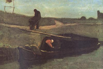 Vincent Van Gogh Peat Boat with Two Figures (nn04) oil painting image