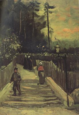 Vincent Van Gogh Sloping Path in Montmartre (nn004) oil painting image