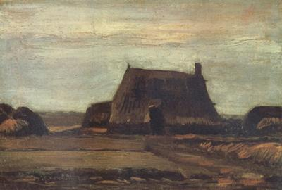 Vincent Van Gogh Farmhouse with Peat Stacks (nn04) oil painting image