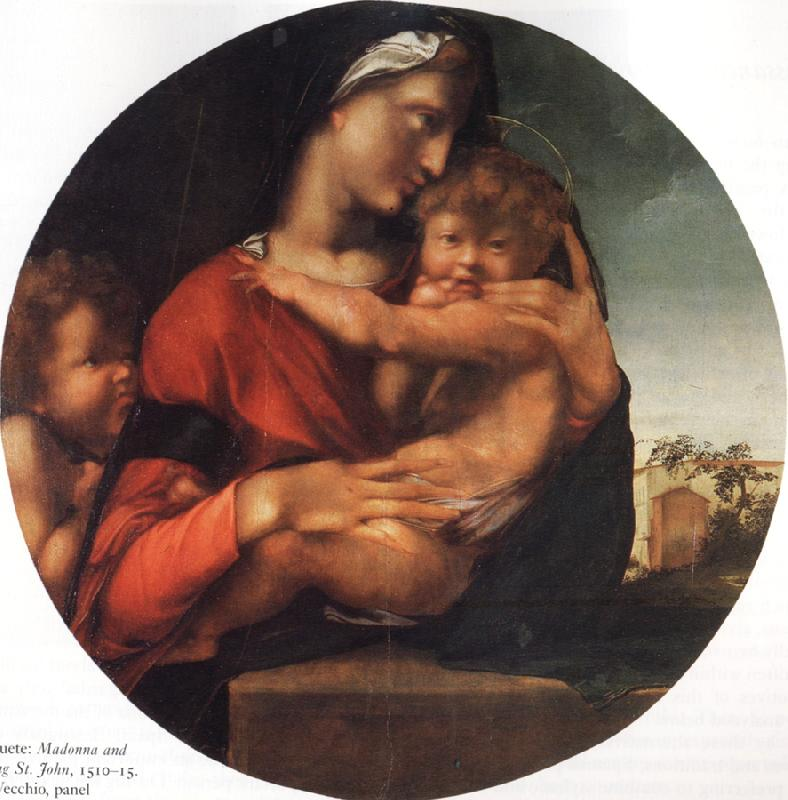 BERRUGUETE, Alonso Madonna and Child with the Young St.Fohn oil painting image