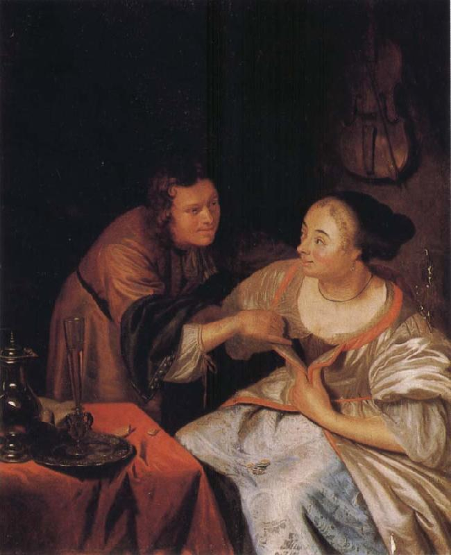 Frans van Mieris Carousing Couple oil painting image